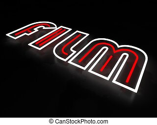 Film neon sign isolated on black background