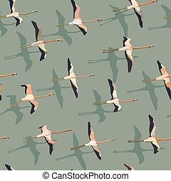 Seamless abstract background flock of flamingos.