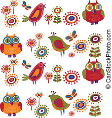 花, 鳥, -, 2