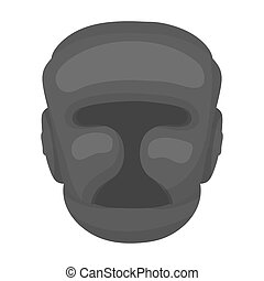 Boxing helmet icon in monochrome style isolated on white...