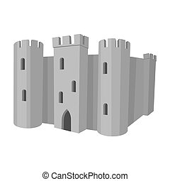 English castle icon in monochrome style isolated on white...