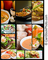 food collage - salad and appetizer gourmet collage on black...