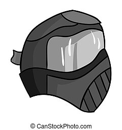 Paintball mask icon in outline style isolated on white...