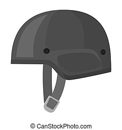 Army helmet icon in monochrome style isolated on white background. Military and army symbol stock bitmap, raster illustration