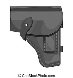 Army handgun holster icon in monochrome style isolated on...
