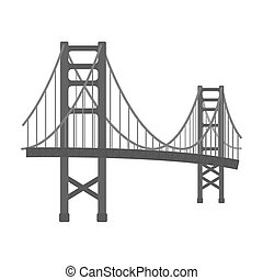 Golden Gate Bridge icon in monochrome style isolated on white background. USA country symbol stock bitmap, raster illustration.