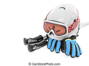 Ski boots gloves helmet isolated.