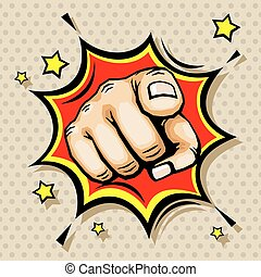 Hand with finger pointing vector illustration in pop art...