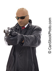 bandit - masked bandit in leather jacket with gun