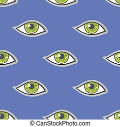 Green eyes patch vector seamless pattern. Illustration of...