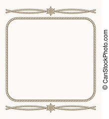 Nautical vector frame with ropes
