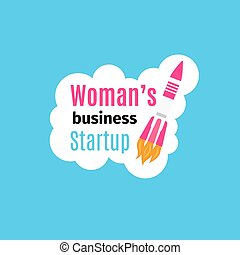 Womans business startup logo design template with pink...