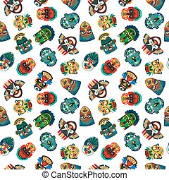 Tribal colorful masks seamless pattern with white...
