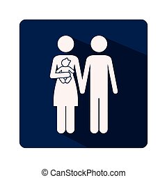 color silhouette frame with man and woman with child in arms