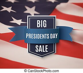 Presidents Day sale background template. Badge with blue...