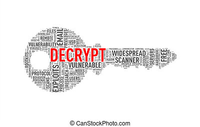 Key shape wordcloud tag decrypt - Illustration of key shape...