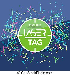 Laser tag target game poster flyer. Vector lasertag banner for fun party. Aim shot poster