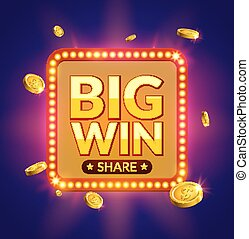 Big Win glowing retro banner for online casino, slot, card...