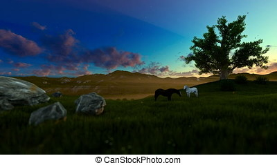Two horses on green meadow and tree of life, morning lights
