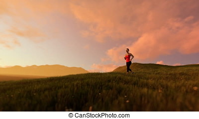 Woman running on green meadow panning, morning mist