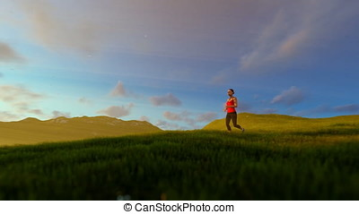Woman running on green meadow, tree of life, sunrise
