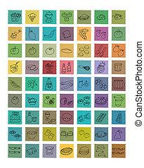 Icone umoriste per siti di commercio in bottoni colorati...