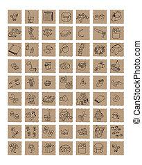 Icone a forma dì francobollo vintage, illustrazione al...