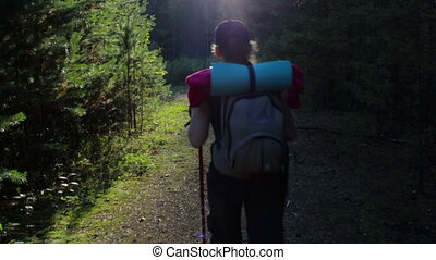 Girl, tourist with a backpack walking in the forest. Beautiful magic light