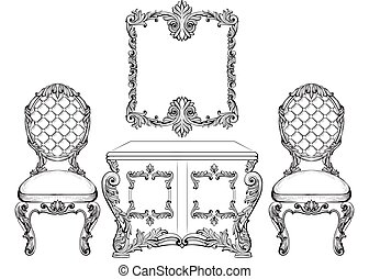 Baroque luxury style furniture dressing table and chairs set...