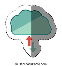 sticker blue cloud with arrows in opposite direction