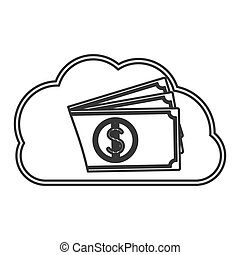 silhouette cloud in cumulus shape with stacked banknote...