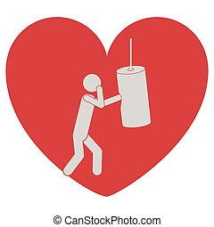 heart shape with pictogram man knocking bag weight vector...