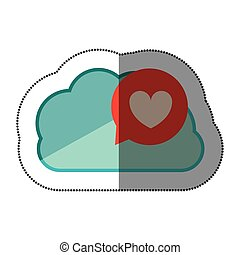 sticker blue cloud with heart dialogue