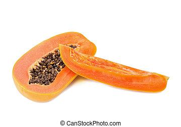 slices of sweet papaya on white background. - slices of...