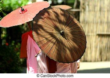 Myanmar women monks with umbrella