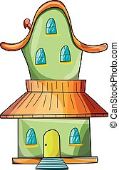 house lodge - The green fairy house on a white background.
