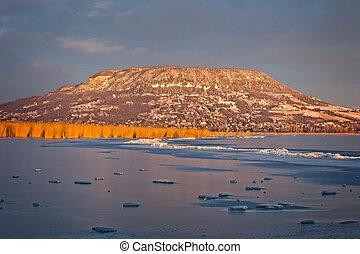 Landscape from Hungary, lake Balaton and mountain Badacsony...