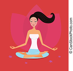Yoga girl in lotus position - Asia girl relaxing in yoga...