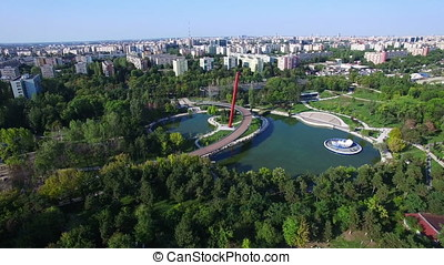 Aerial view of Moghioros park, Bucharest city, Romania