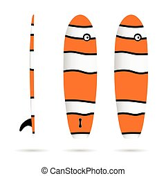 surfboard wave set in color design illustration