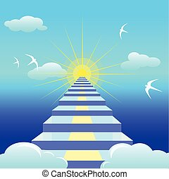 Blue staircase leading to the rising sun. Vector illustartion