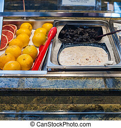 self-service buffet with cold breakfast
