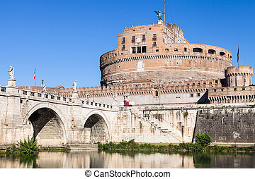 Castle of the St Angel and bridge in Rome city