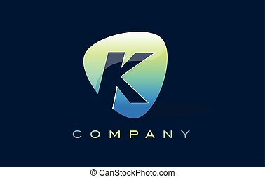 k Letter Logo. Oval Shape Modern Design with Glossy Look.