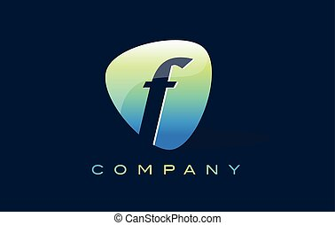 f Letter Logo. Oval Shape Modern Design with Glossy Look.