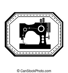 monochrome silhouette sewing machine in frame