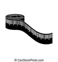 monochrome silhouette with measure tape vector illustration
