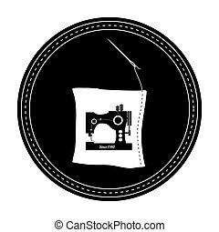 monochrome silhouette with frame with sewing machine