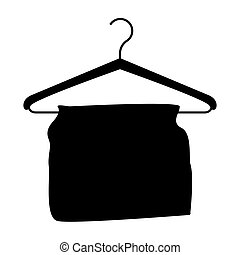 monochrome silhouette with hook closet shirt with clothes