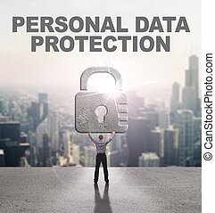 Technology, Internet, business and network concept. Young business man provides cyber security: Personal data protection